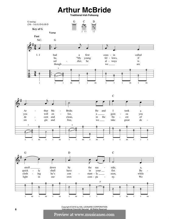 Arthur McBride: For banjo by folklore
