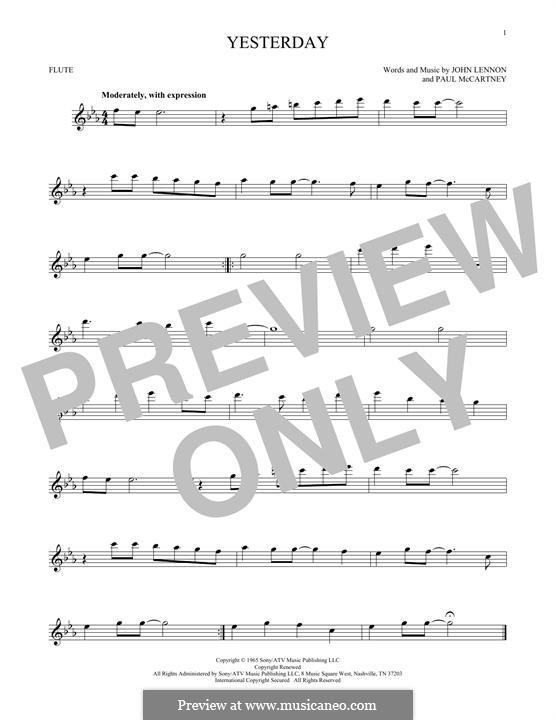 Yesterday (The Beatles): Для флейты by John Lennon, Paul McCartney