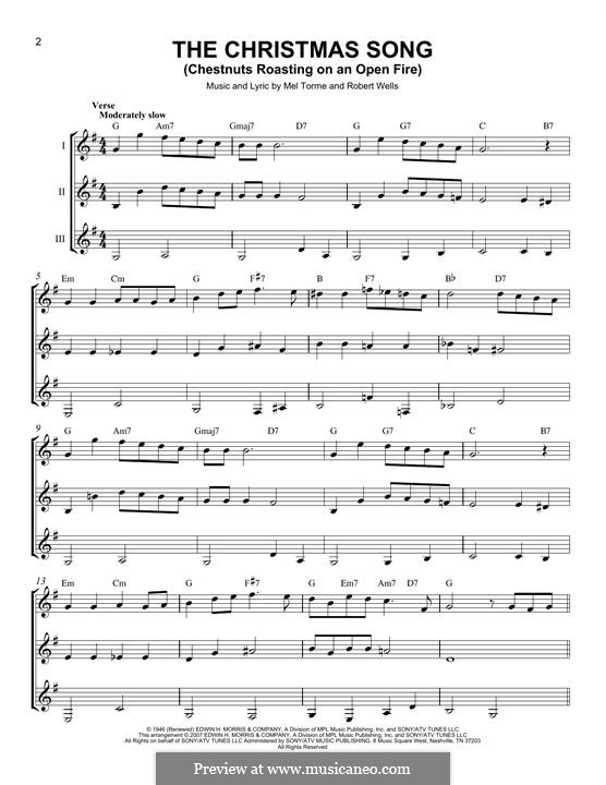 The Christmas Song (Chestnuts Roasting on an Open Fire): For any instrument by Mel Tormé, Robert Wells