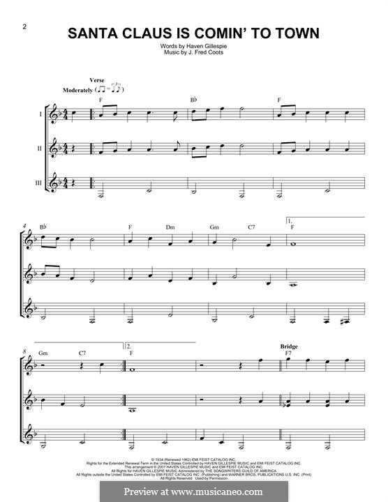 Santa Claus is Comin' to Town: For any instrument by J. Fred Coots