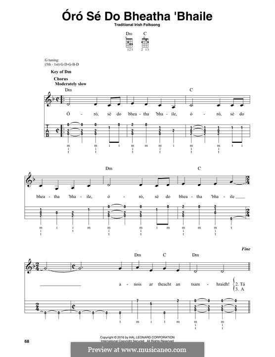 Óró, Sé do Bheatha Abhaile: For banjo by folklore