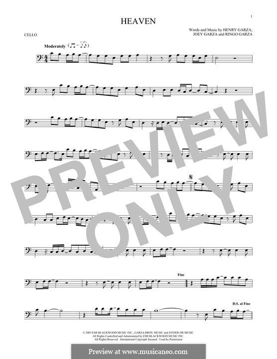 Heaven (Los Lonely Boys): Для виолончели by Henry Garza, Joey Garza, Ringo Garza
