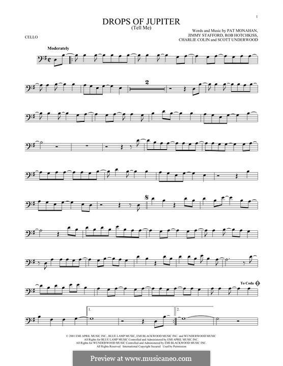 Drops of Jupiter / Tell Me (Train): Для виолончели by Charlie Colin, Jimmy Stafford, Patrick Monahan, Rob Hotchkiss, Scott Underwood
