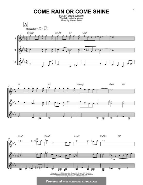 Come Rain or Come Shine: For any instrument by Harold Arlen