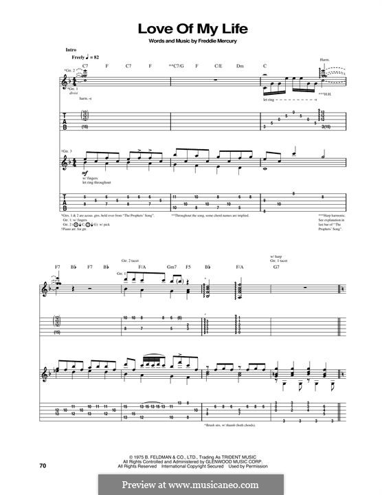 Love of My Life (Queen): Гитарная табулатура by Freddie Mercury