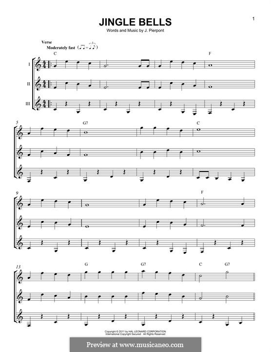 Jingle Bells (Printable scores): For any instrument by James Lord Pierpont
