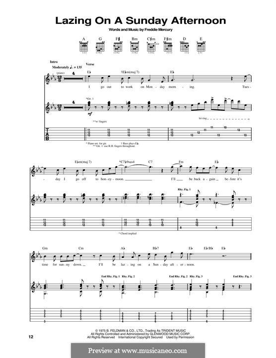 Lazing on a Sunday Afternoon (Queen): Гитарная табулатура by Freddie Mercury