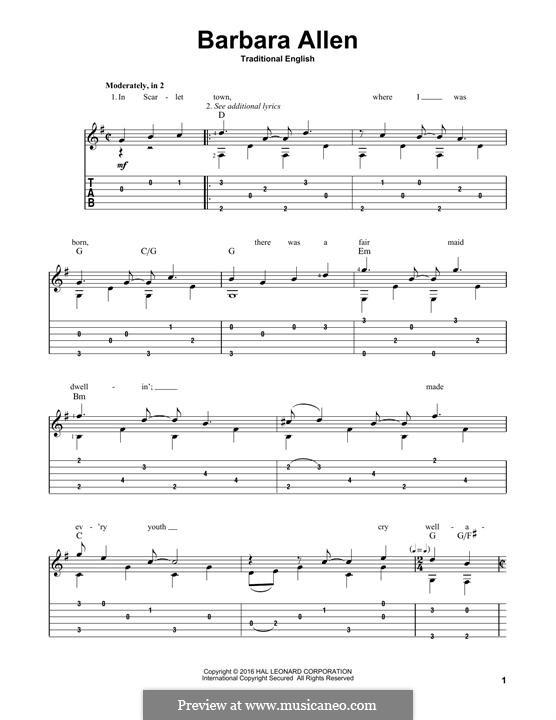 Barbara Allen: Гитарная табулатура by folklore