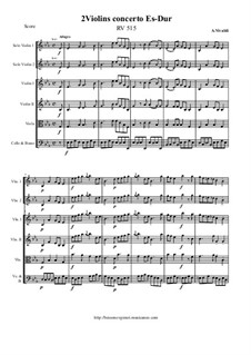 Concerto for Two Violins and Strings in E Flat Major, RV 515: Score and all parts by Антонио Вивальди
