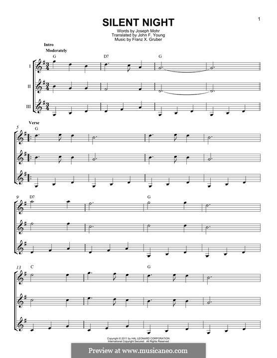 Тихая ночь (ноты для печати): For any instrument by Франц Ксавьер Грубер