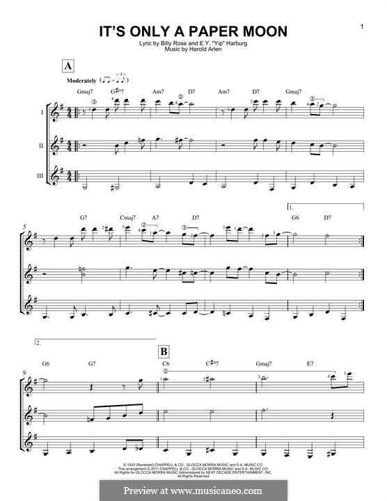 It's Only a Paper Moon: For any instrument by Harold Arlen