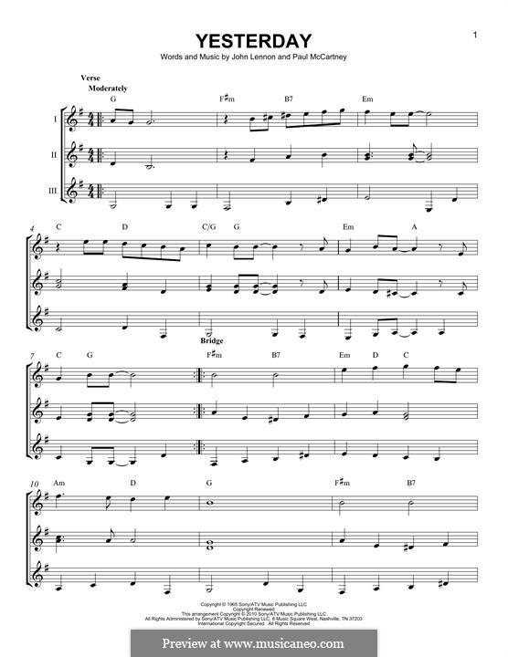 Yesterday (The Beatles): For any instrument by John Lennon, Paul McCartney