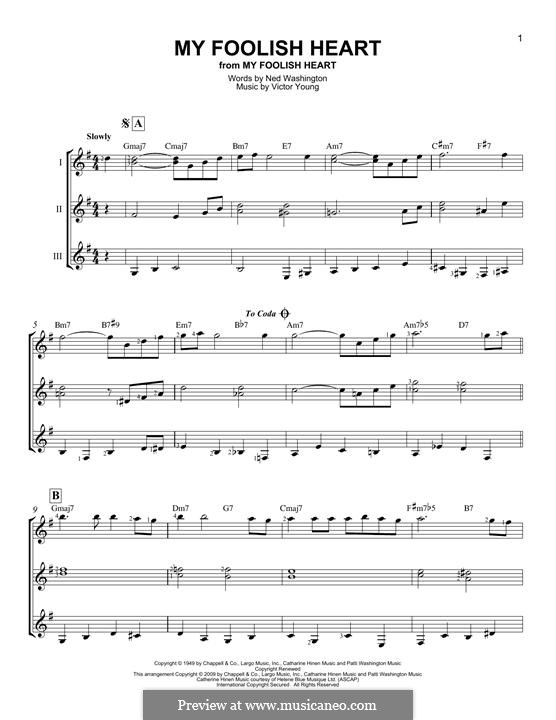 My Foolish Heart: For any instrument by Victor Young