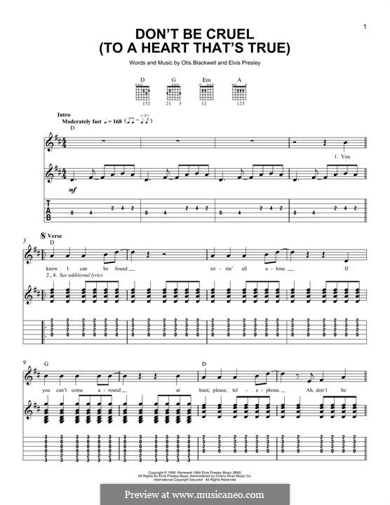 Don't Be Cruel: Гитарная табулатура by Elvis Presley, Otis Blackwell