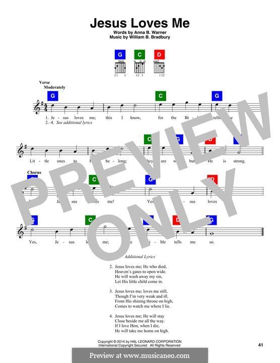 Jesus Loves Me: Текст, аккорды by William Batchelder Bradbury