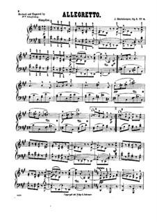 Четыре пьесы для фортепиано, Op.1:  No.4 Аллегретто by Йозеф Габриэль Райнбергер