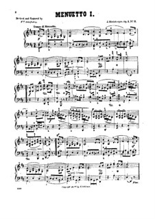 Четыре пьесы для фортепиано, Op.1: No.2 Менуэт I by Йозеф Габриэль Райнбергер