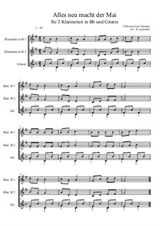 Alles neu macht der Mai: For two clarinets and guitar (F Major) by folklore