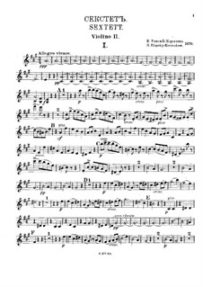 Секстет ля мажор: Скрипка II by Николай Римский-Корсаков
