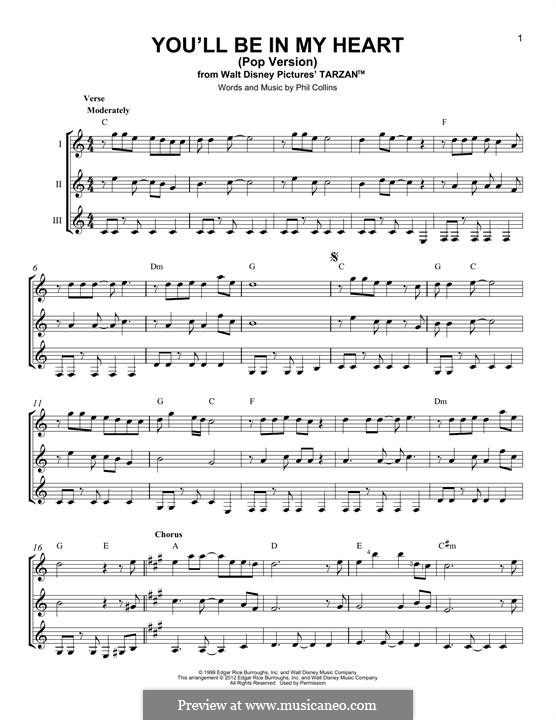You'll Be in My Heart (from Walt Disney's Tarzan): For any instrument by Phil Collins
