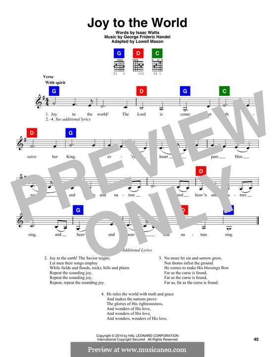 Joy to the World (Printable Scores): Текст, аккорды by Георг Фридрих Гендель
