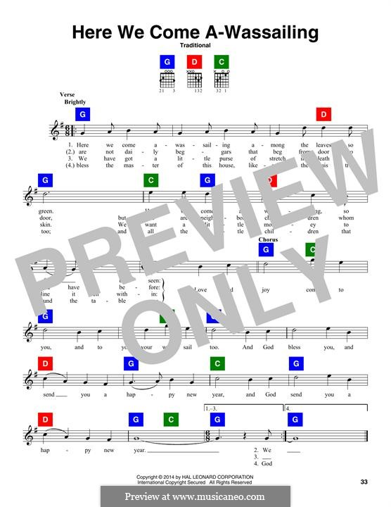 Here we Come a-Wassailing (Printable Scores): Текст, аккорды by folklore
