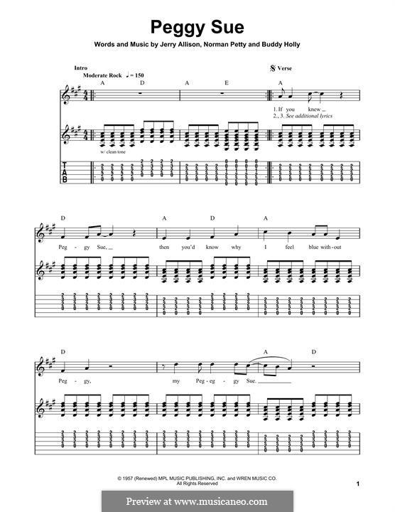 Peggy Sue: Гитарная табулатура by Buddy Holly, Jerry Allison, Norman Petty
