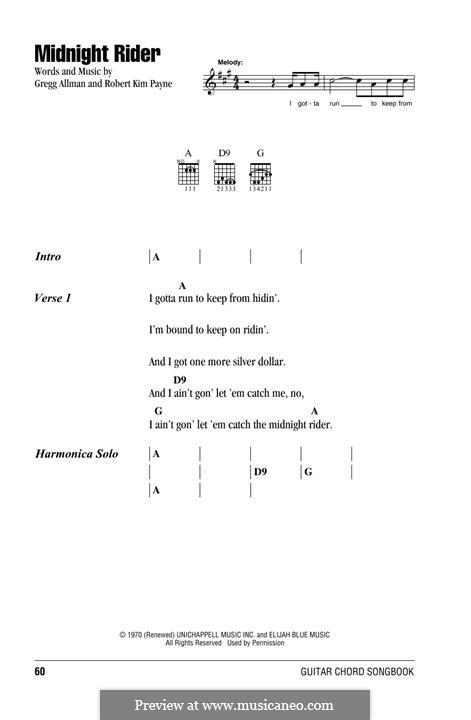 Midnight Rider (The Allman Brothers Band): Текст, аккорды by Gregg Allman, Robert Kim Payne