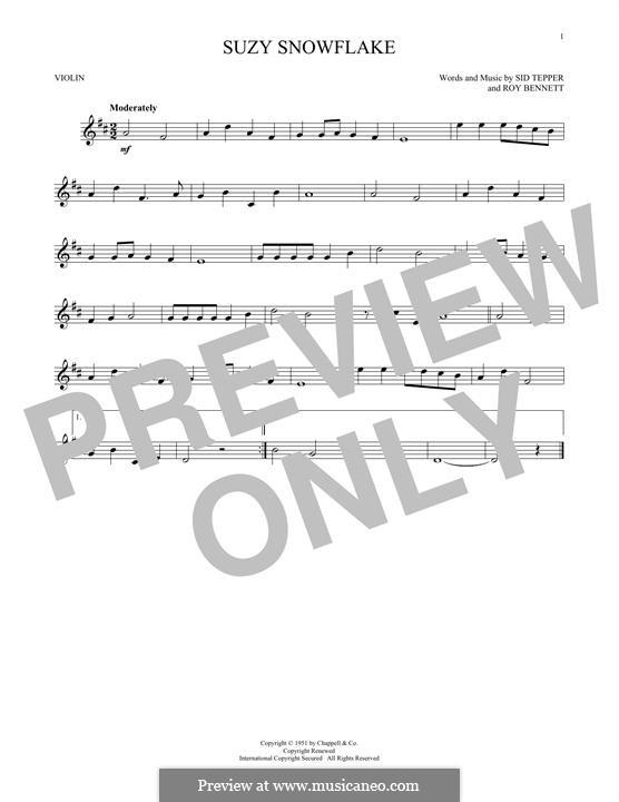 Suzy Snowflake (Rosemary Clooney): Для скрипки by Roy C. Bennett, Sid Tepper