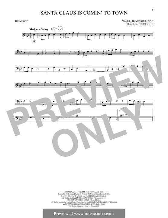 Santa Claus is Comin' to Town: For trombone by J. Fred Coots