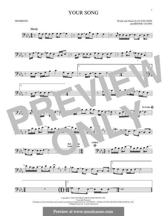 Your Song: For trombone by Elton John