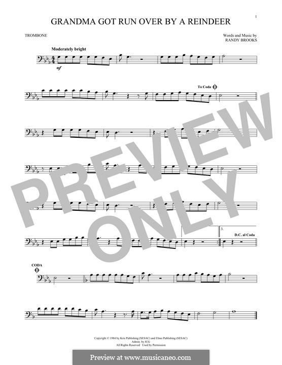 Grandma Got Run Over By a Reindeer: For trombone by Randy Brooks