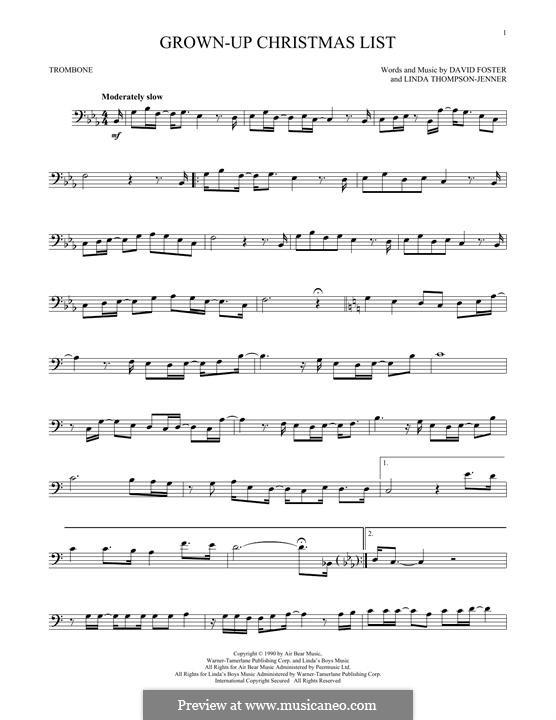 Grown-Up Christmas List: For trombone by David Foster, Linda Thompson-Jenner