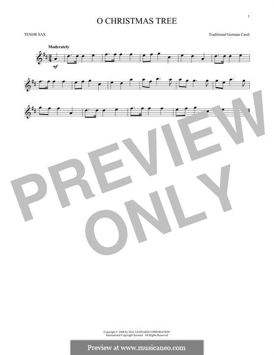 O Christmas Tree, (Printable Scores): Для тенорового саксофона by folklore