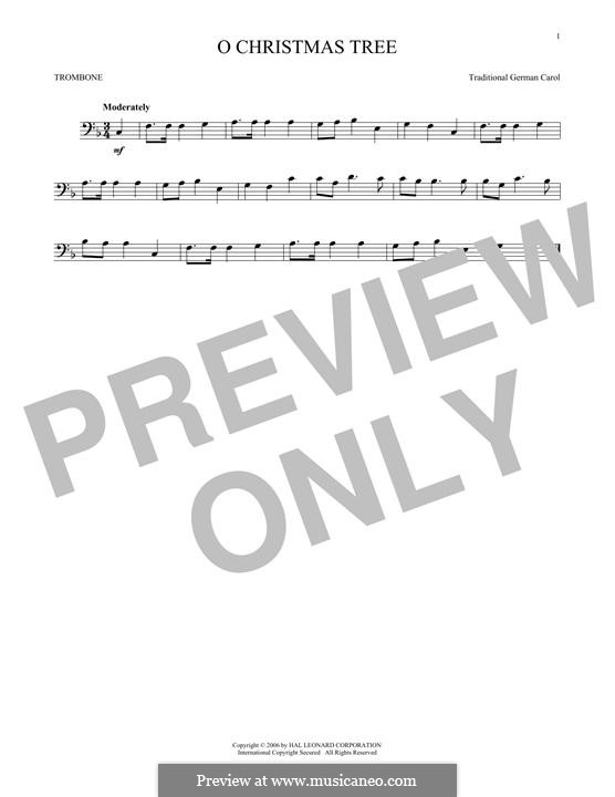 O Christmas Tree, (Printable Scores): For trombone by folklore