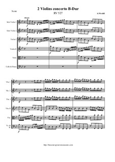 Concerto for Two Violins and Strings in B Flat Major, RV 527: Score and all parts by Антонио Вивальди