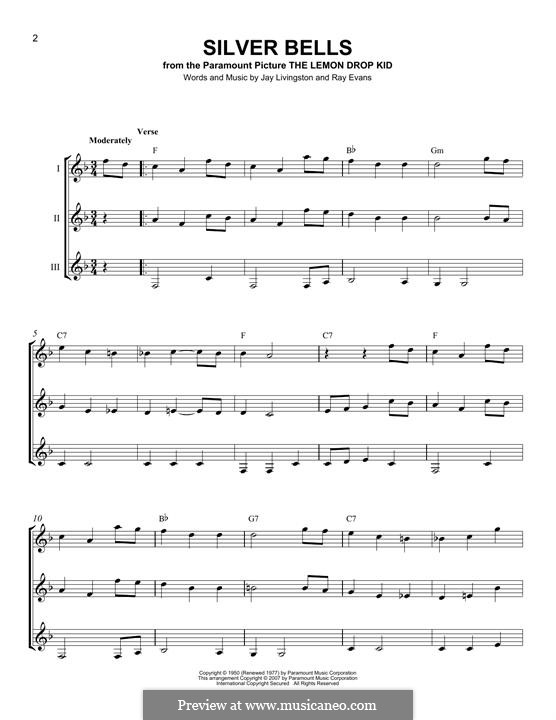 Silver Bells: For any instrument by Jay Livingston, Raymond Evans