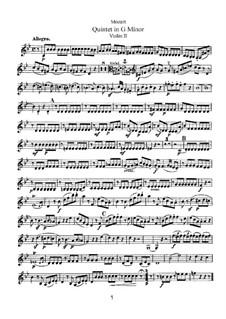 Струнный квинтет No.4 соль минор, K.516: Партия II скрипки by Вольфганг Амадей Моцарт