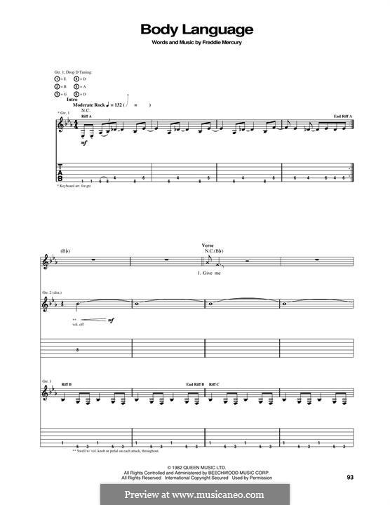 Body Language (Queen): Гитарная табулатура by Freddie Mercury