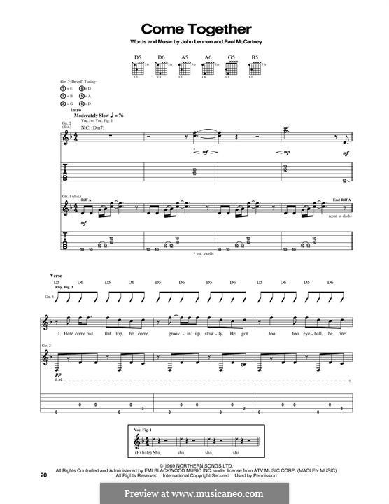 Come Together (The Beatles): Гитарная табулатура by John Lennon, Paul McCartney