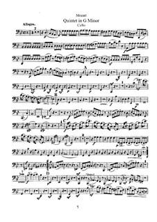 Струнный квинтет No.4 соль минор, K.516: Партия виолончели by Вольфганг Амадей Моцарт