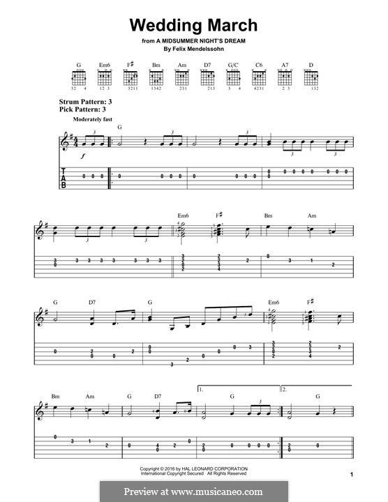 Wedding March (Printable Scores): Для гитары by Феликс Мендельсон-Бартольди
