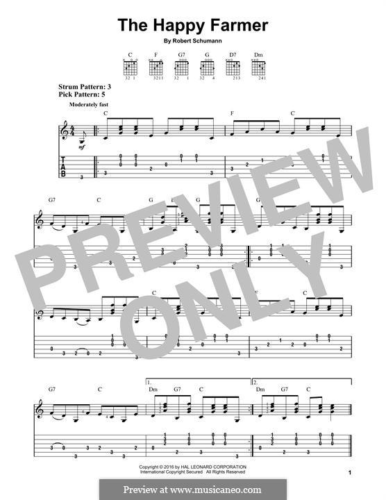 No.10 Веселый крестьянин: Гитарная табулатура by Роберт Шуман
