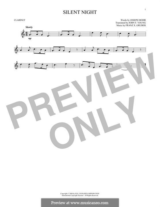 Тихая ночь (ноты для печати): Для кларнета by Франц Ксавьер Грубер