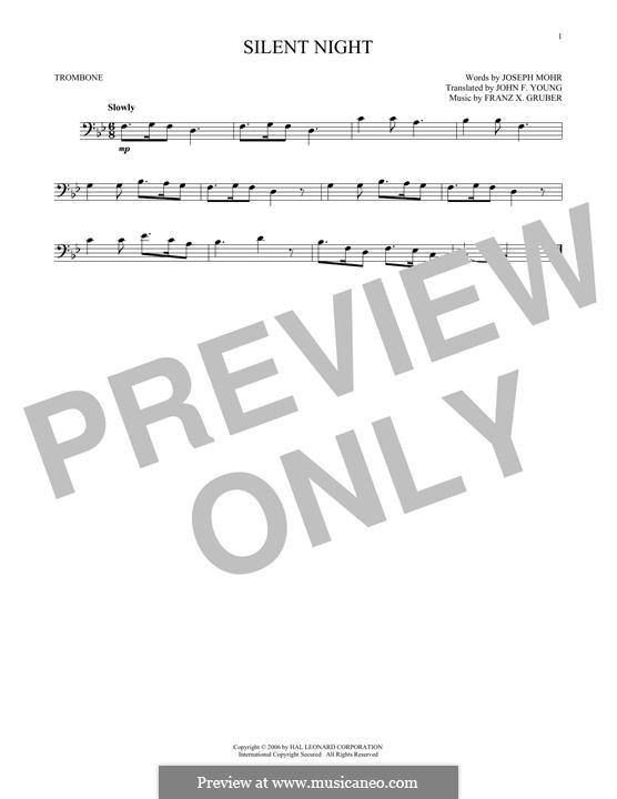 Тихая ночь (ноты для печати): For trombone by Франц Ксавьер Грубер