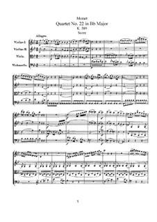 Струнный квартет No.22 си-бемоль мажор, K.589: Партитура by Вольфганг Амадей Моцарт