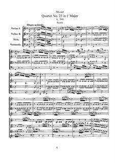 Струнный квартет No.23 фа мажор, K.590: Партитура by Вольфганг Амадей Моцарт