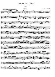 Струнный квартет No.23 фа мажор, K.590: Партии by Вольфганг Амадей Моцарт