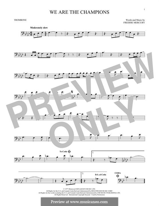 We are the Champions (Queen): For trombone by Freddie Mercury