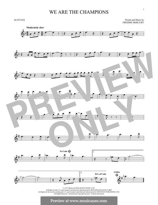 We are the Champions (Queen): Для альтового саксофона by Freddie Mercury